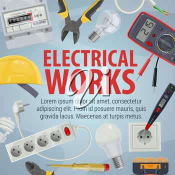 Electrical works. Vector pliers and helmet, plug and power socket, light bulb and wire, screwdriver and multimeter. Tools and equipment, work with electricity, electrician service