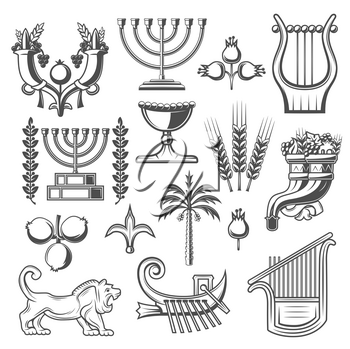 Judaism symbols monochrome vector icons. Cornucopia and goblet, pomegranate and menorah, laurel branches and harp, lion and wheat. Jewish culture and judaism religion icons