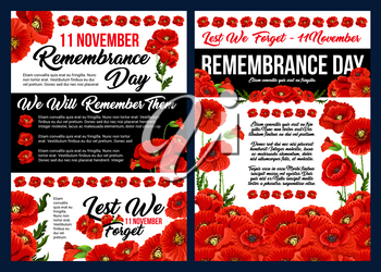 Remembrance Day Lest We Forget banner set for 11 November anniversary celebration. Red poppy flower field with green leaf and floral bunch for World War soldier and veteran memorial card design