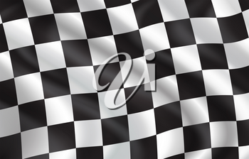 Checkered flag for car racing or rally club. Vector 3D checkered pattern background of white and black squares on waving flag for sport club or bike races competition in start and finish design