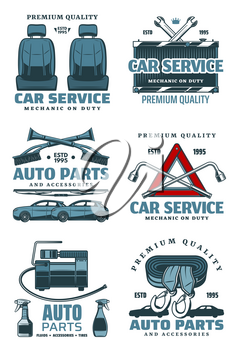 Car service and auto repair station icons. Vector isolated set for spare parts store or mechanic garage, tire pump or windshield scrapes and spanners, accumulator or radiator and driver seats
