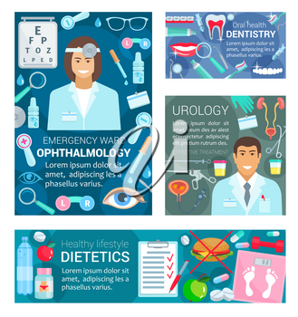 Doctors of dentistry, urology, ophthalmology and dietetics medicine. Vector dentist, urologist, ophthalmologist and dietitian with tooth, eye and urogenital system, organs anatomy and medical tools