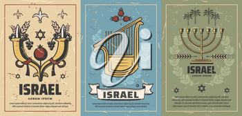 Israel retro posters with cornucopia full of pomegranate, grapes and wheat, musical instrument and candlestick. David star and tropical palms. Vintage shabby brochures for travel agency vector