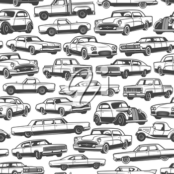 Old car or vintage retro automobile pattern background. Vector seamless design of auto transport limousine or hatchback and pickup truck vehicle or antique collector and veteran auto models