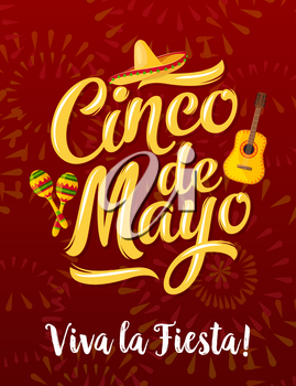 Mexican fiesta party greeting banner of Cinco de Mayo holiday. Puebla battle anniversary celebration poster, decorated by sombrero hat, maracas, guitar and firework for Latin American festival design