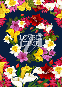Spring time lovely time poster of crocuses flowers for wish card or seasonal holiday greeting design. Vector springtime blooming garden violas and butterflies on flourish blossoms bunch wreath