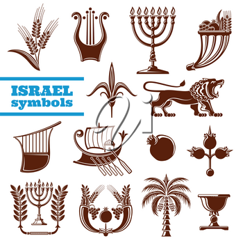 Israel symbols with judaism religion, culture and history sign. Jerusalem lion, menorah with olive branch and palm tree, lyre, shavuot pomegranate fruit, wheat and grape, zebulun boat and flower