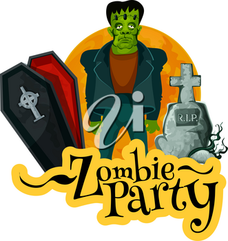 Zombie party invitation card for Halloween holiday celebration. Evil monster and horror cemetery with coffin, gravestone and full moon on background for autumn holidays greeting poster design