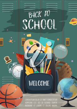 School lockers with backpack full of student supplies banner for Back to School concept. Pencil, book and pen, ruler, globe and paint, brush and office stationery for education poster design