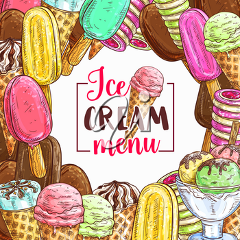 Ice cream frame with cold summer dessert sketch for cafe menu cover design. Chocolate and vanilla ice cream scoop in waffle cone, fruit sundae, strawberry sorbet and gelato, popsicle and frozen yogurt
