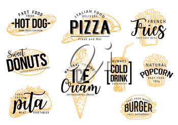 Fast food lettering of fastfood snacks. Cafe, restaurant or bistro menu. Vector sketch hot dog sandwich, Italian pizza or fries and donut or ice cream dessert and drink, popcorn and pita or burger
