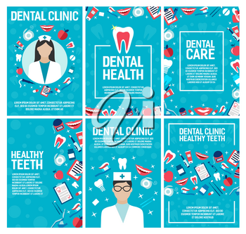 Dental clinic brochure for dentistry surgery and health. Vector design of dentist doctor and teeth treatments and pills, implants and orthodontic medical braces, smile with toothpaste and toothbrush