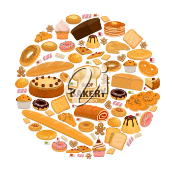 Bakery shop poster for patisserie or cafeteria. Vector design of baker chef hat with bread and cake, marmalade or caramel sweets and pastry desserts, fruit pie and berry cupcake or donut and croissant