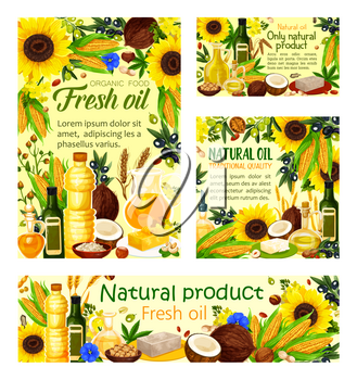 Natural cooking oils products posters and banners. Vector oil bottles and jars of sunflower, olive or linseed flax and peanut and maize corn oil with coconut butter