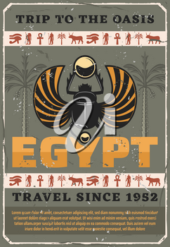 Egyptian scarab vector bug, retro carabaeus sacer. Travel to Egypt, ancient religious symbols, Horus eye and Ra, Anubis and ox, coptic cross and palm tree. Symbolic beetle holding gold ball