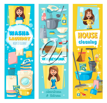 House cleaning, laundry and home clean service. Vector professional housekeeping, housewife washing dishes in kitchen, mopping floor and cleaning window glass or drying and ironing clothes