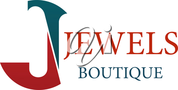 Letter J icon for jewelry and jewel fashion accessories boutique. Vector letter J symbol for luxury silver, gold and diamonds jewelry luxury premium brand shop or bijouterie salon design