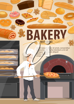 Bakery with bread and pastry products, baker putting pizza in stove. Donut and gingerbread cookie, bun and cracker, roll with jam and baguette, waffle and pretzel, croissant and wheat