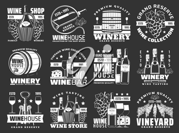 Wine bottle and winery barrel vector icons. Alcohol drinks of grape fruit, wine glasses, champagne and corkscrew, vineyard with grape vines, cheese and bread snack food. Winehouse emblems design