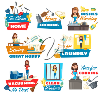 Cleaning, laundry, dish washing and cooking household service, vector icons. Housewife cleaning window, vacuuming carpet and sewing cloth. Kitchen utensil, cleaning tools
