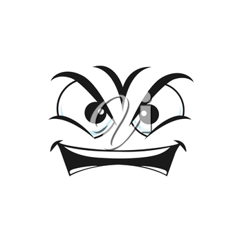 Angry smiley isolated irritated emoticon icon. Vector grumpy sullen emoji, ireful or rageful smiley emoticon. Bad mood emotion, wrathy sad emoji with open mouth, social network chatting sign