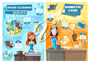 House cleaning and home cooking service vector posters of housework and household chores design. Women chef and maid washing dishes and preparing dinner in kitchen with gloves, sponge and pots