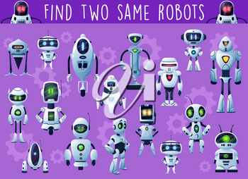 Kids game with robots and droids. Child playing activity, riddle or educational puzzle with find same object task, fantasy robots and alien humanoid cyborgs cartoon vector characters