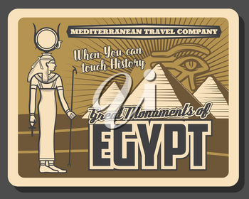 Egypt monuments, pyramids and gods. Vector Horus eye and Amun Ra statue, travelling landmarks. Ancient egyptian pharaoh palace or temple, Egypt history and culture