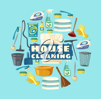 House cleaning service, professional clean home and laundry. Vector housewife cleaning tools and items, floor mop and water bucket, washing machine and vacuum cleaner, duster broom and sponge
