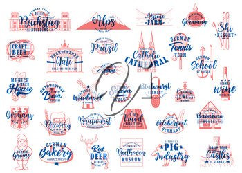 German travel lettering icons of food, drink and landmarks of Germany vector design. Oktoberfest beer, pretzel and sausage, Munich castle, Brandenburg gate, timbered house and Alps mountain sketches