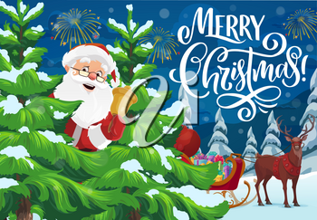 Santa Claus with Christmas bell and reindeer sleigh full of Xmas gifts vector greeting card. Winter forest pine trees with snowy branches, New Year gifts and fireworks. Merry Christmas holidays design