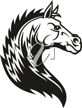Horse head icon of black tribal animal. Wild mustang stallion or mare with curved neck and ornamental mane for tattoo, horse racing sport mascot or t-shirt print design