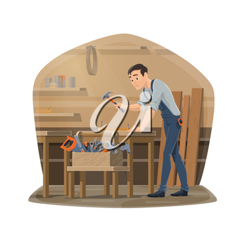 Carpenter man at workshop, carpentry woodwork and furniture making tools. Vector carpenter man with hammer nailing wood and timber planks, chisel plane, vise and ruler carpentry toolbox at desk table