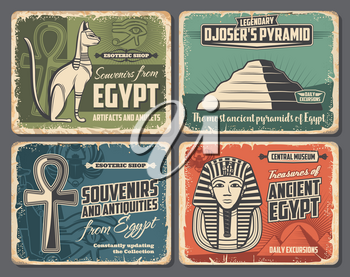 Ancient Egypt symbols, travel tourism, esoteric souvenirs and historic antiquities shop retro vintage posters. Vector Pharaoh pyramid in Cairo or Giza, sacred cat and scarab, mummy and Ankh sign
