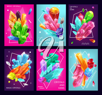 Magic crystal and gem vector banners of gemstones, jewelry stones and mineral rocks. Diamonds, quartz and jewels, amethyst, blue glass and salt crystals with thin line polygons and geometric shapes