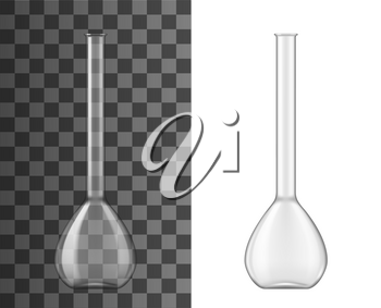 Volumetric flask or glass beaker vector design of measuring lab glassware. Chemical laboratory science equipment of 3d flask with narrow neck, chemistry, biology, medicine and pharmacy themes