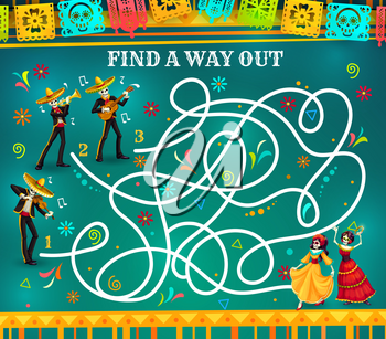 Labyrinth maze game, Dia de los Muertos riddle with skeletons. Kids education vector puzzle, quiz or rebus with find right way task, Mexican Day of the Dead holiday skulls, papel picado and sombreros