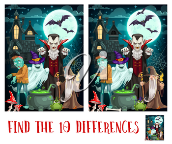 Child spot differences game with Halloween monsters. Kids find details exercise, children playing activity or riddle. Dracula vampire, zombie and ghost, sorcerer or wizard cartoon vector characters