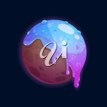 Planet of chocolate in caramel glaze isolated sweet confectionery world, alien habitable planet cartoon icon. Vector choco outer space globe, tasty sphere, game design element. Yummy atmosphere