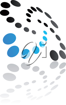 Abstract symbol of swirling dots in diminishing sizes with a curved oblique perspective and reflection in black and blue