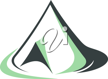 Sketch of a green tepee used traditionally by Indians or pyramidal or conical tent with an open flap to the side