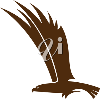 Side view silhouette of a flying falcon  or hawk with its powerful wings raised for mascot or tattoo design