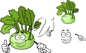 Fun cartoon kohlrabi with a laughing face and fresh green leaves, vector illustration isolated on white