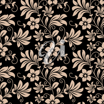 Vintage floral wallpaper seamless pattern with trailing tendrils of little flowers on vertical vines with leaves in beige on black in square format