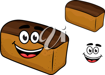 Freshly baled smiling loaf of brown bread with a happy fac, cartoon illustration isolated on white