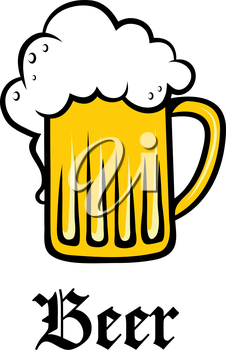 Glass pint tankard of refreshing golden frothy beer or lager overflowing down the sides above the text - Beer -  on white