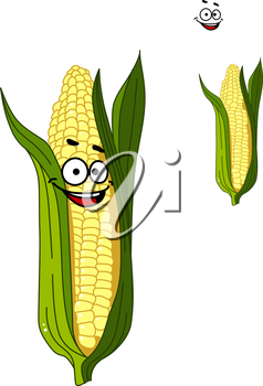 Cheerful smiling cartoon corn vegetable on the cob with a happy face and green leaves isolated on white