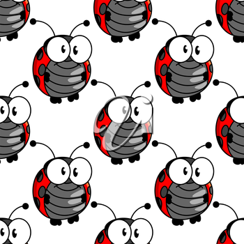 Ladybug seamless background pattern with a cute little red and black spotted ladybird standing upright with big googly eyes, cartoon illustration in square format