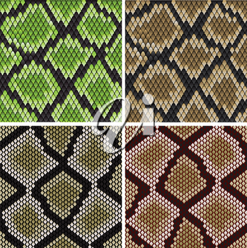 Seamless background of green and grey snake skin patterns for fashion and wildlife design