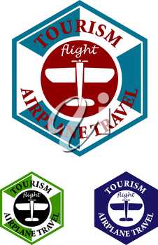 Retro airplane travel icon, label or emblem with old airplane and text, suitable for tourism or aviation design
